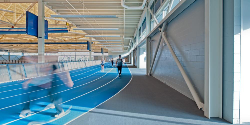 Canada Games Centre, interior, running track