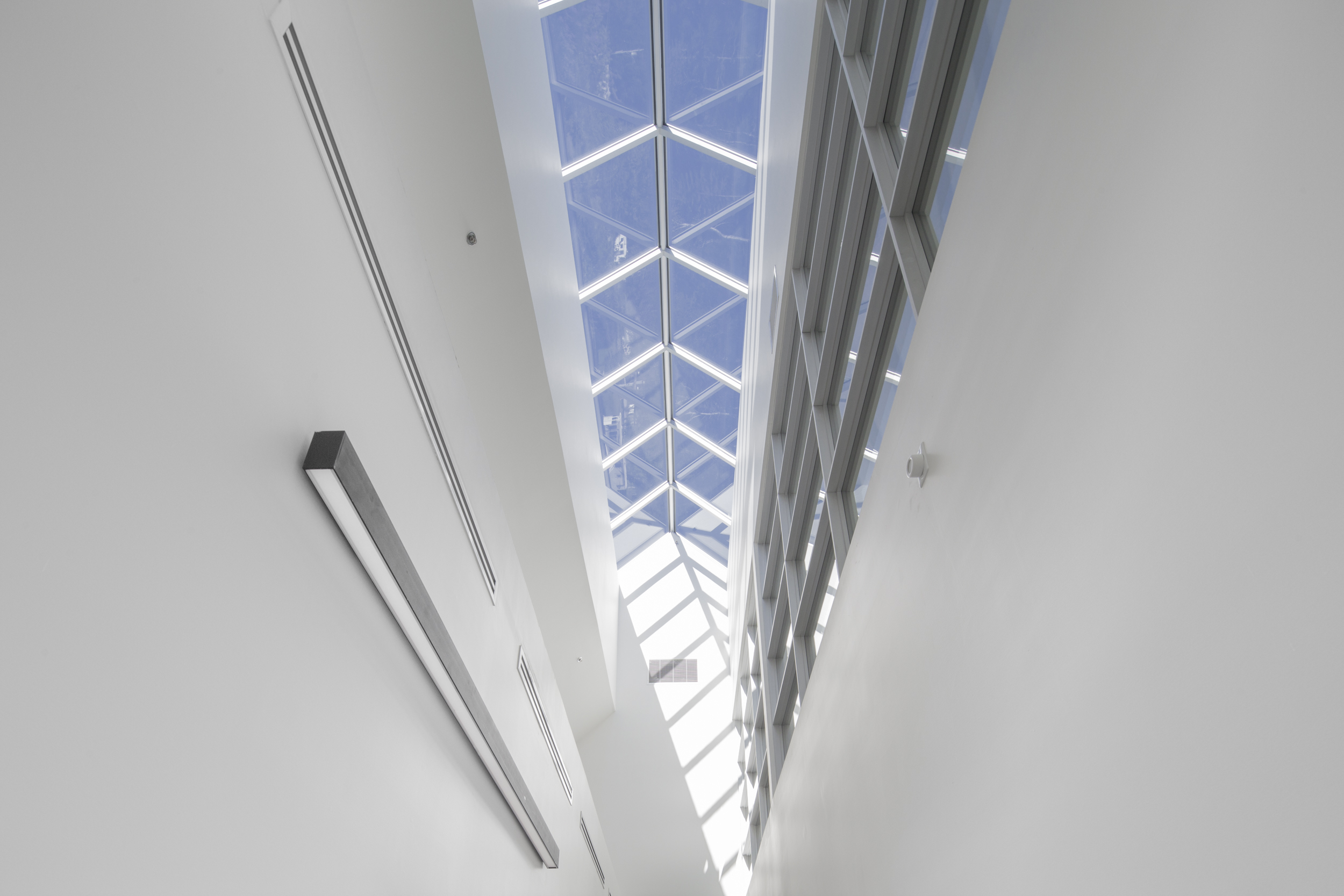 A skylight along the top edge of the gable roof illuminates the reception area and administrative functions of the building.